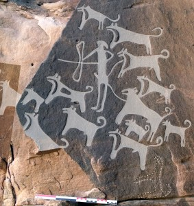 Dog art found in Shuwaymis, Saudi Arabia may date back more than 8,000 years. (Credit: M.Guagnin et al., Journal of Anthropological Archaeology, 2017)