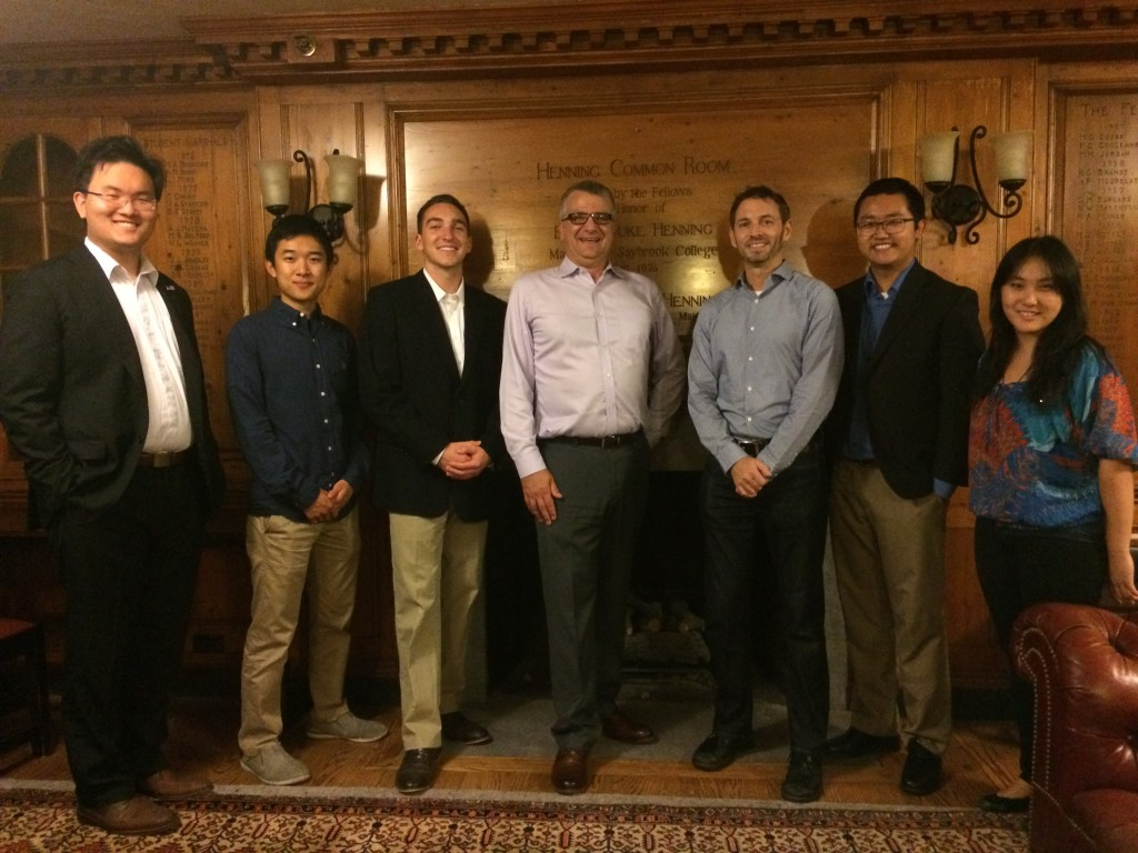From left: David Jiang, Tony Liu, Kellen Bean, Professor Tom Near, David Grimm, Chunyang Ding, and Sonia Wang