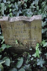 A pet gravestone from Hyde Park (wording below). Credit: Eric Tourigny taken with permission of The Royal Parks